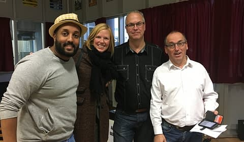 Mo Hershi, Annemette Hellinga, Rudy Veraar en Wim Belt